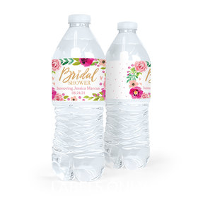 Personalized Bridal Shower Magenta Florals Water Bottle Sticker Labels (5 Labels)