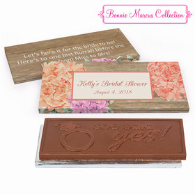 Deluxe Personalized Bridal Shower Blooming Joy Embossed Chocolate Bar in Gift Box