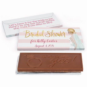 Deluxe Personalized Bridal Shower Bridal March Embossed Chocolate Bar in Gift Box