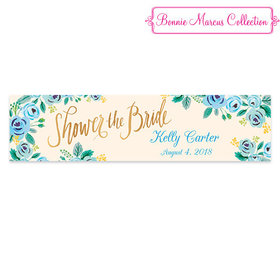 Personalized Blue Flowers Bridal Shower Banner