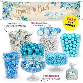 Personalized Bridal Shower Blue Flowers Deluxe Candy Buffet