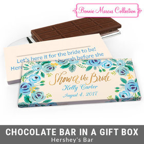 Deluxe Personalized Bridal Shower Here's Something Blue Chocolate Bar in Gift Box