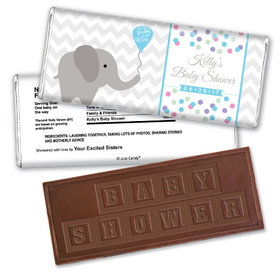 Baby Shower Personalized Embossed Chocolate Bar Chevron Dots Elephant