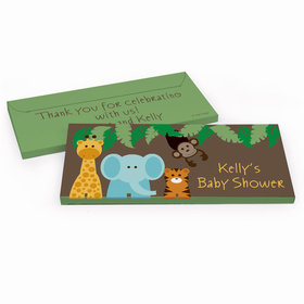 Deluxe Personalized Baby Shower Jungle Safari Chocolate Bar in Gift Box
