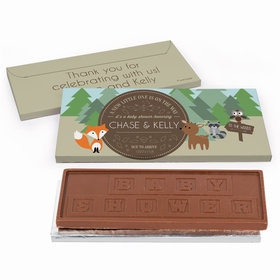 Deluxe Personalized Baby Shower Forest Friends Chocolate Bar in Gift Box