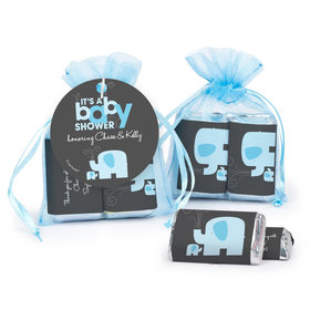 Personalized Baby Shower Baby Elephant Hershey's Miniatures in Organza Bags with Gift Tag