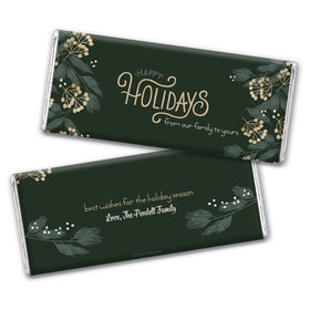 Personalized Christmas Holiday Greenery Chocolate Bar Wrappers