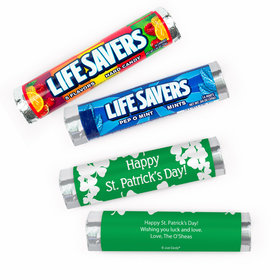 Personalized St. Patrick's Day White Clovers Lifesavers Rolls (20 Rolls)