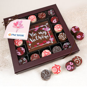 Personalized Valentine's Day Sending Hearts Add Your Logo Gourmet Belgian Chocolate Truffle Gift Box (17 pieces)