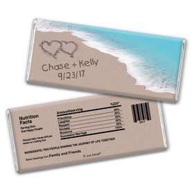 Wedding Favor Personalized Chocolate Bar Names and Hearts in Sand Sea Shore