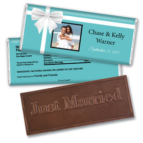 Wedding Favor Personalized Embossed Chocolate Bar Tiffany Style Gift