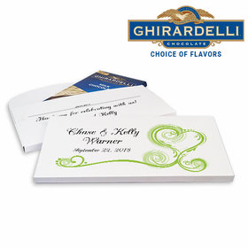 Deluxe Personalized Wedding Heart Scroll Ghirardelli Chocolate Bar in Gift Box