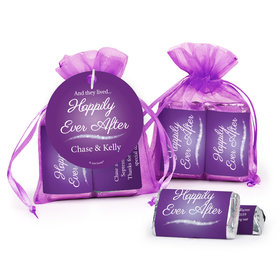 Personalized Wedding Happily Ever After Hershey's Miniatures in Organza Bags with Gift Tag