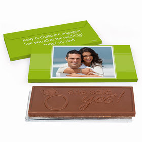 Deluxe Personalized Engagement Photo Chocolate Bar in Gift Box