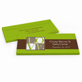 Deluxe Personalized Rehearsal Dinner Pop Art Love Square Chocolate Bar in Gift Box