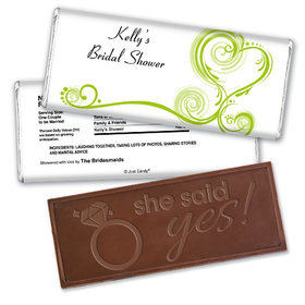 Bridal Shower Favor Personalized Embossed Chocolate Bar Swirled Hearts