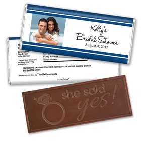 Bridal Shower Favor Personalized Embossed Chocolate Bar Classic Border Photo
