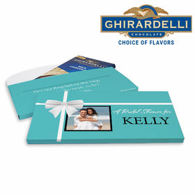 Deluxe Personalized Bridal Shower Tiffany Style Ghirardelli Chocolate Bar in Gift Box