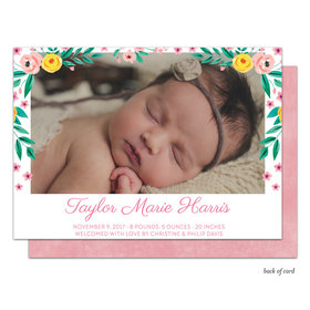 Bonnie Marcus Collection Personalized Floral Border Girl Birth Announcement