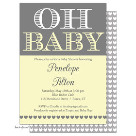 Bonnie Marcus Collection Personalized Oh Baby Invitation - Yellow