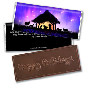 Personalized Christmas Holy Night Embossed Chocolate Bar