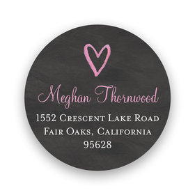 Bonnie Marcus Collection Script Heart Chalkboard Return Address Sticker