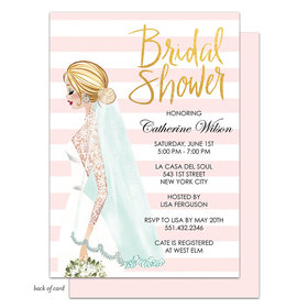 Bonnie Marcus Collection Personalized Vintage Bride Stripes Invitation