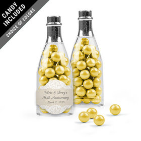 Personalized Anniversary Favor Assembled Champagne Bottle with Sixlets