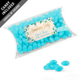 Personalized Anniversary Favor Assembled Pillow Box with Just Candy Jelly Beans