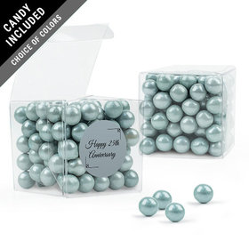 Personalized 25th Anniversary Favor Assembled Clear Box with Sixlets