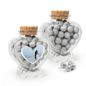 Personalized 25th Anniversary Favor Assembled Heart Jar with Sixlets