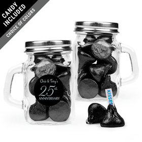 Personalized 25th Anniversary Favor Assembled Mini Mason Mug with Hershey's Kisses