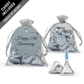 Personalized 25th Anniversary Favor Assembled Organza Bag with Hershey's Kisses