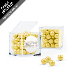 Personalized 50th Anniversary Favor Assembled Cube with Sixlets
