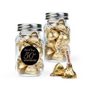 Personalized 50th Anniversary Favor Assembled Mini Mason Jar with Hershey's Kisses