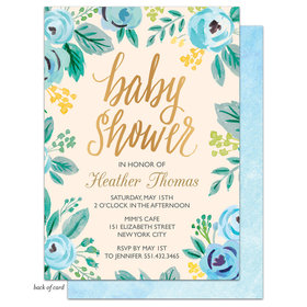Bonnie Marcus Collection Personalized Watercolor Blue Blossom Invitation
