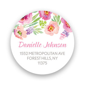 Bonnie Marcus Collection Watercolor Blossom (White) Return Address Sticker