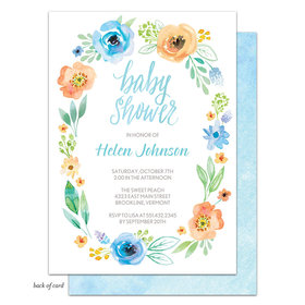 Bonnie Marcus Collection Personalized Watercolor Blossom Wreath (Blue) Invitation