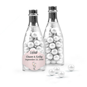Personalized Wedding Favor Assembled Champagne Bottle with Sixlets