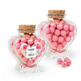Personalized Wedding Favor Assembled Heart Jar with Sixlets