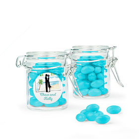 Personalized Wedding Favor Assembled Swing Top Round Jar with Just Candy Jelly Beans