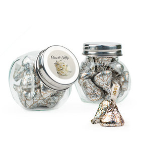 Personalized Wedding Favor Assembled Mini Side Jar with Hershey's Kisses