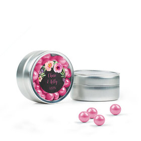 Personalized Wedding Favor Assembled Mini Round Tin with Sixlets