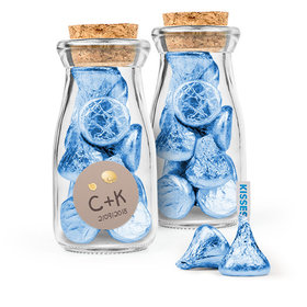Personalized Wedding Favor Assembled Glass Bottle with Cork Top with Hershey's Kisses