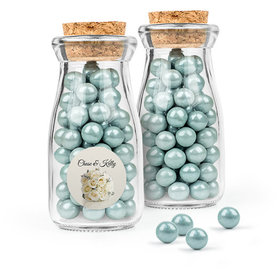 Personalized Wedding Favor Assembled Glass Bottle with Cork Top with Sixlets