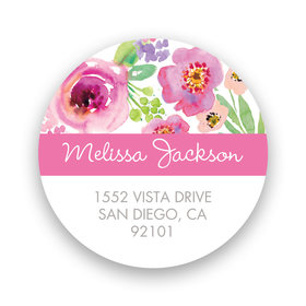 Bonnie Marcus Collection Watercolor Bridal Shower White Return Address Sticker