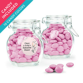 Personalized Rehearsal Dinner Favor Assembled Swing Top Jar with Just Candy Milk Chocolate Minis