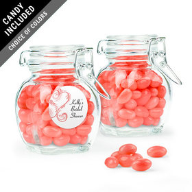 Personalized Bridal Shower Favor Assembled Swing Top Jar with Just Candy Jelly Beans