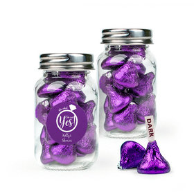 Personalized Bridal Shower Favor Assembled Mini Mason Jar with Hershey's Kisses