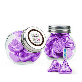 Personalized Bridal Shower Favor Assembled Mini Side Jar with Hershey's Kisses